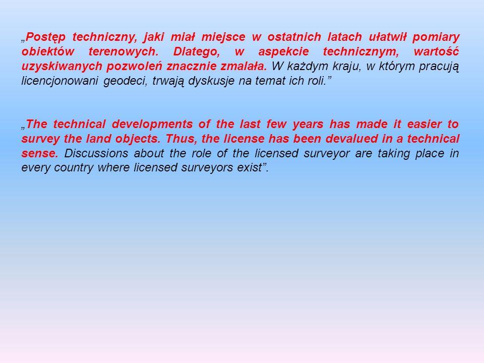 Postęp techniczny, jaki miał miejsce w ostatnich latach ułatwił pomiary obiektów terenowych. Dlatego, w aspekcie technicznym, wartość uzyskiwanych poz