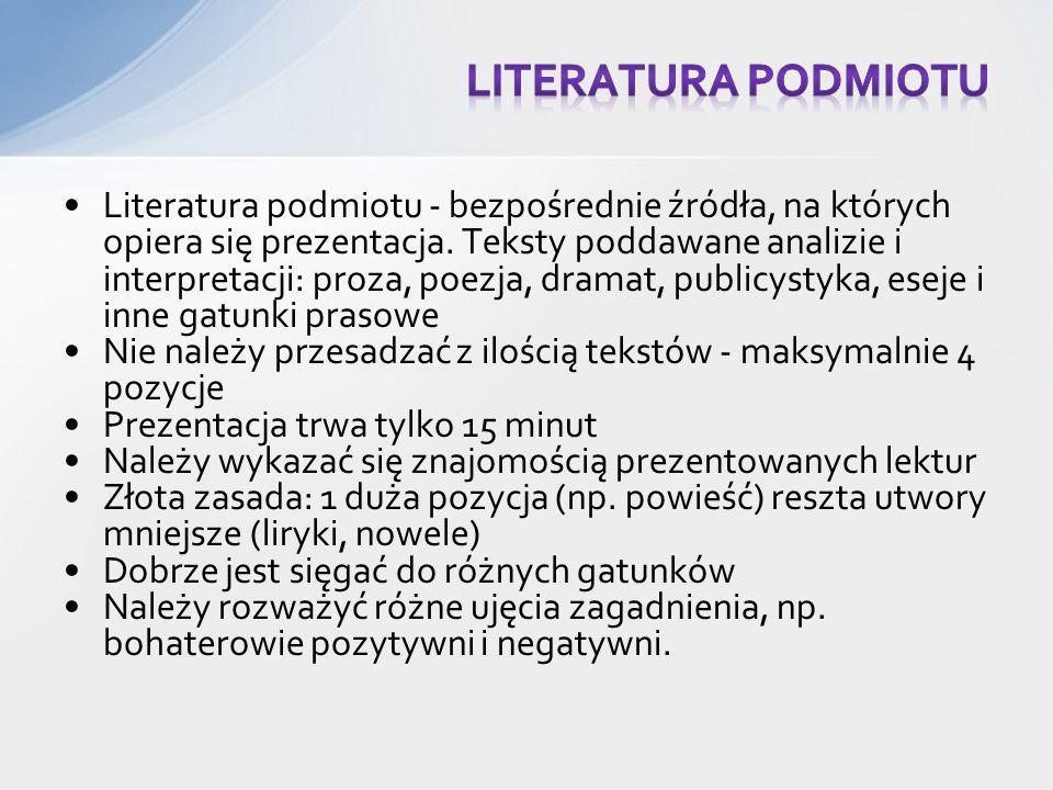 Literatura podmiotu - bezpośrednie źródła, na których opiera się prezentacja.