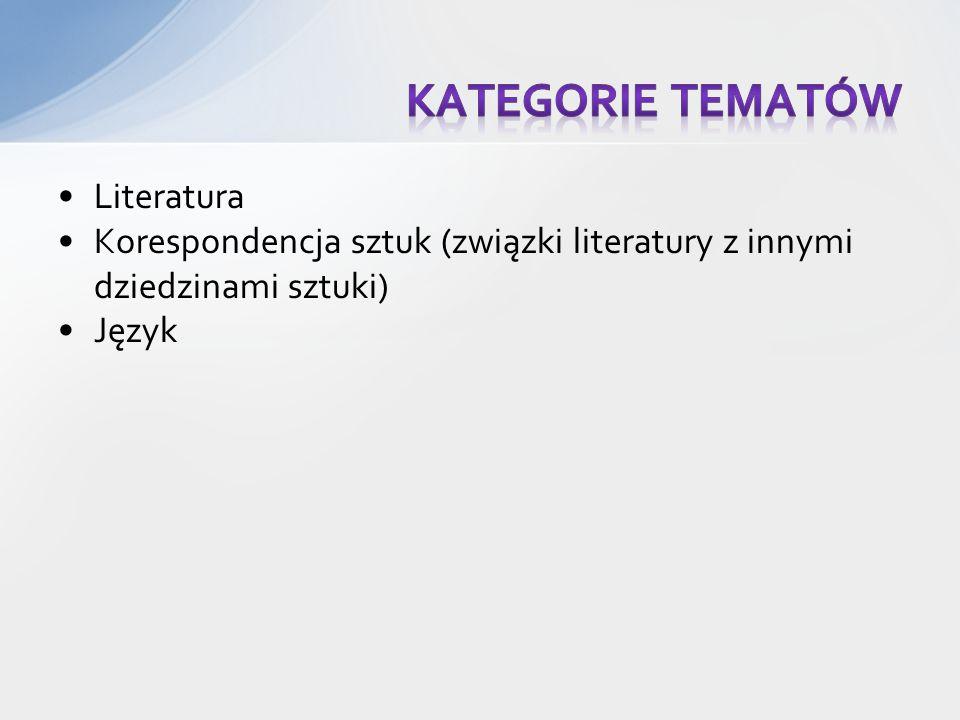 Literatura Korespondencja sztuk (związki literatury z innymi dziedzinami sztuki) Język