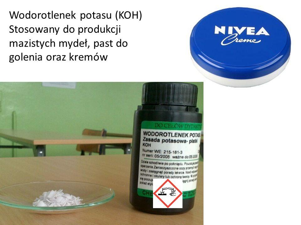 Wodorotlenek potasu (KOH) Stosowany do produkcji mazistych mydeł, past do golenia oraz kremów