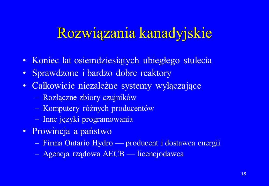 15 Rozwiązania kanadyjskie Koniec lat osiemdziesiątych ubiegłego stulecia Sprawdzone i bardzo dobre reaktory Całkowicie niezależne systemy wyłączające