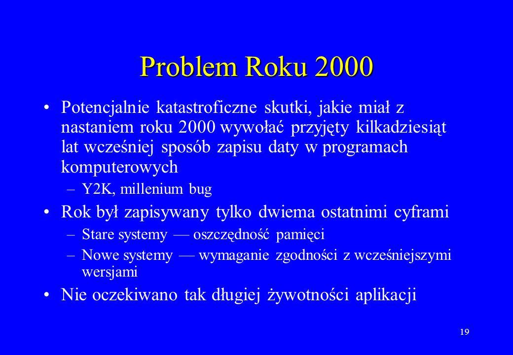 19 Problem Roku 2000 Potencjalnie katastroficzne skutki, jakie miał z nastaniem roku 2000 wywołać przyjęty kilkadziesiąt lat wcześniej sposób zapisu d