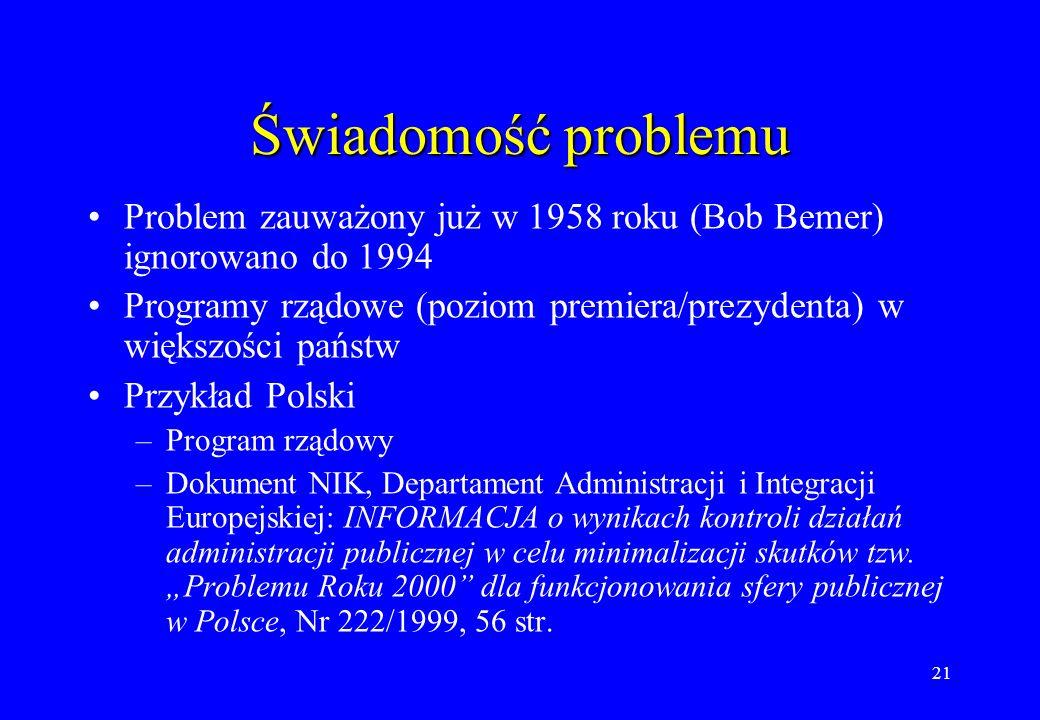 21 Świadomość problemu Problem zauważony już w 1958 roku (Bob Bemer) ignorowano do 1994 Programy rządowe (poziom premiera/prezydenta) w większości pań
