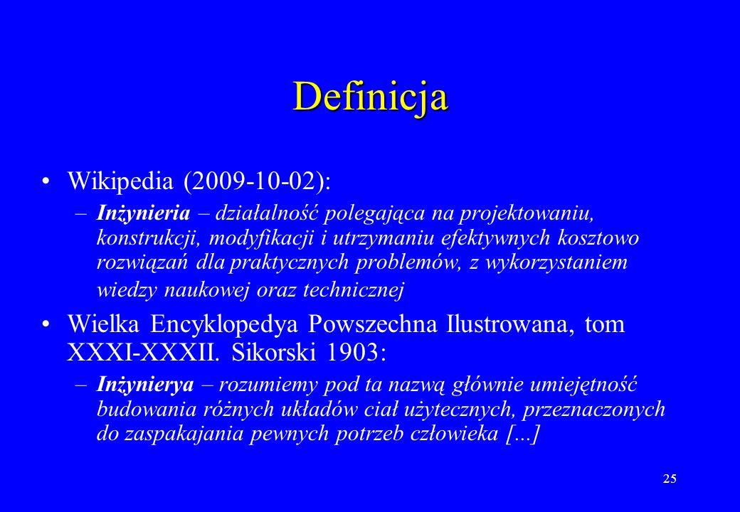25 Definicja Wikipedia (2009-10-02): –Inżynieria – działalność polegająca na projektowaniu, konstrukcji, modyfikacji i utrzymaniu efektywnych kosztowo