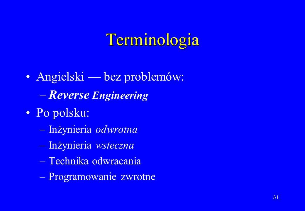 31 Terminologia Angielski bez problemów: –Reverse Engineering Po polsku: –Inżynieria odwrotna –Inżynieria wsteczna –Technika odwracania –Programowanie