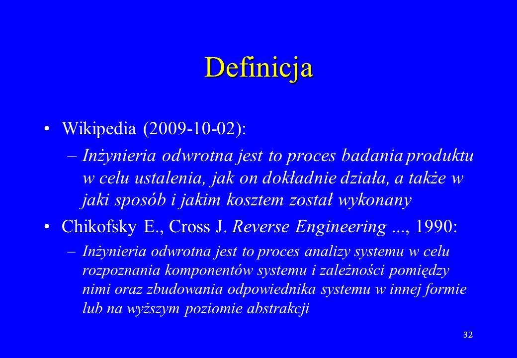 32 Definicja Wikipedia (2009-10-02): –Inżynieria odwrotna jest to proces badania produktu w celu ustalenia, jak on dokładnie działa, a także w jaki sp
