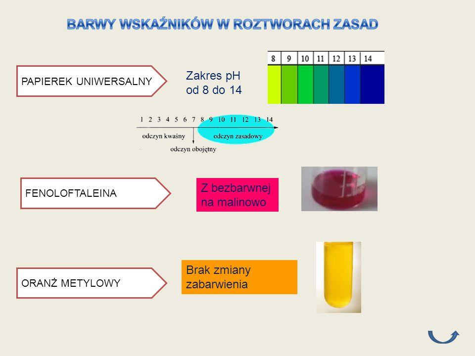 PAPIEREK UNIWERSALNY FENOLOFTALEINA Z bezbarwnej na malinowo ORANŻ METYLOWY Brak zmiany zabarwienia Zakres pH od 8 do 14