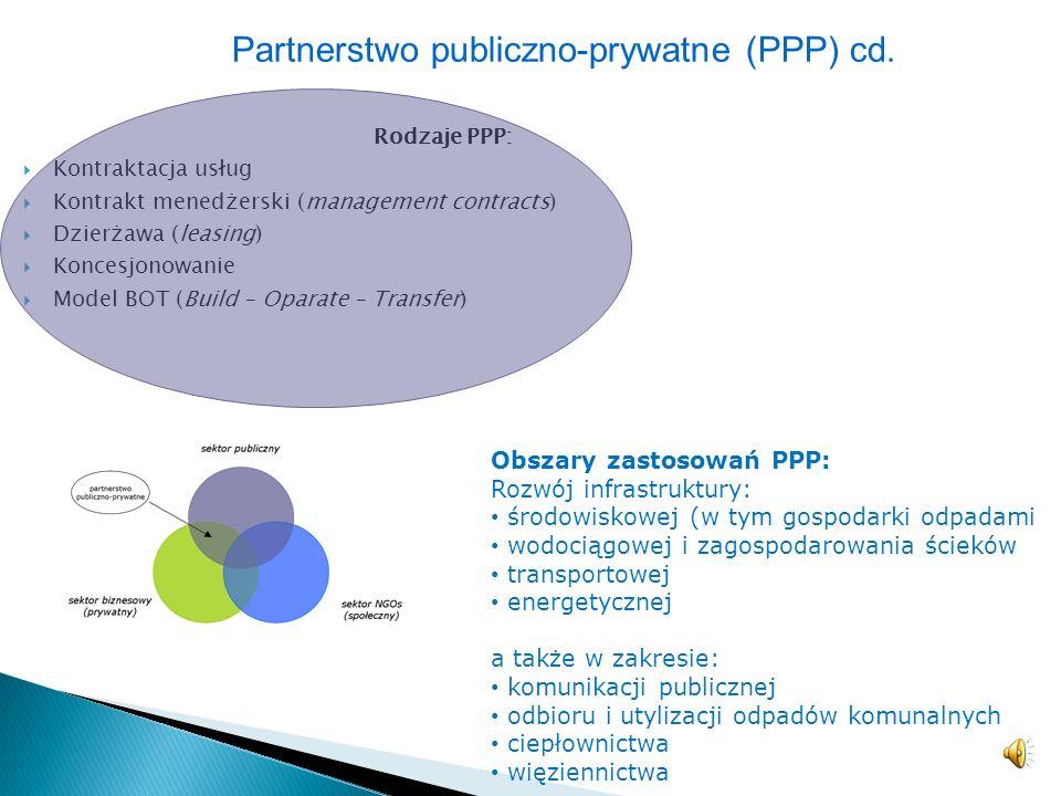 – dotyczy współpracy na linii jednostki publiczne (samorządowe) – przedsiębiorstwa prywatne, – regulowane przepisami ustawy o partnerstwie publiczno-p