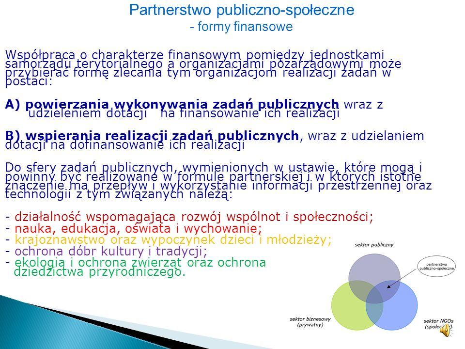 Partnerstwo publiczno-społeczne: – dotyczy współpracy na linii jednostki publiczne (samorządowe) – organizacje społeczne, – regulowane jest przepisami