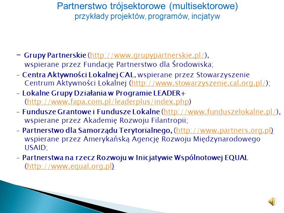 W Polsce wiele projektów rozwojowych realizowanych jest w formule trójsektorowej. Projekty te ukierunkowane są na osiąganie celów zrównoważonego rozwo