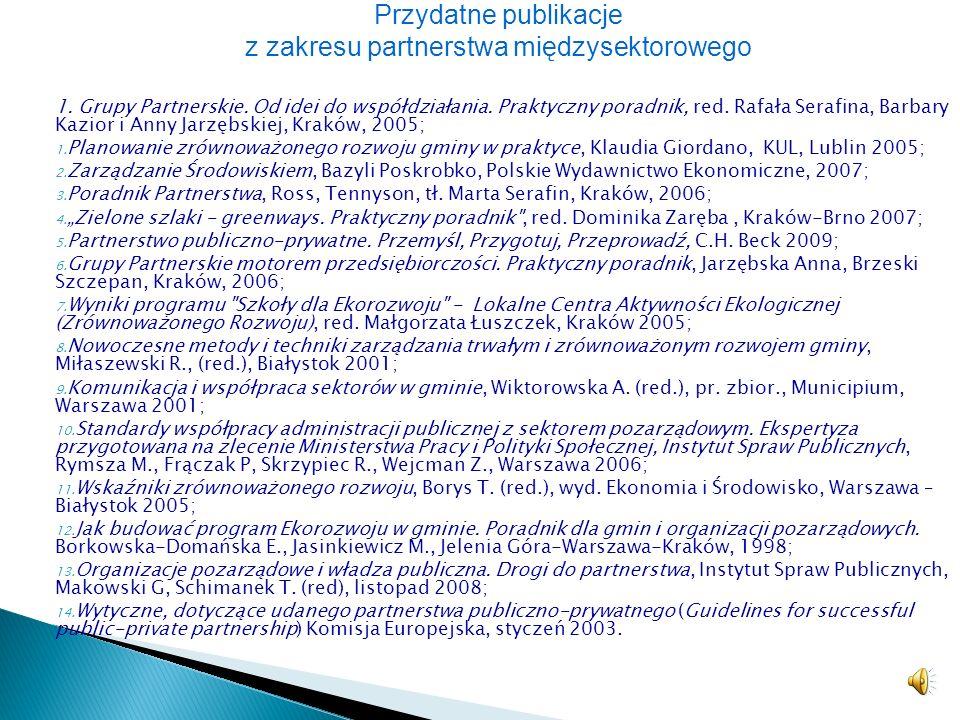 http://www.dobrepartnerstwo.pl/http://www.dobrepartnerstwo.pl/ portal poświęcony dobrym praktykom współpracy partnerskiej http://www.grupypartnerskie.
