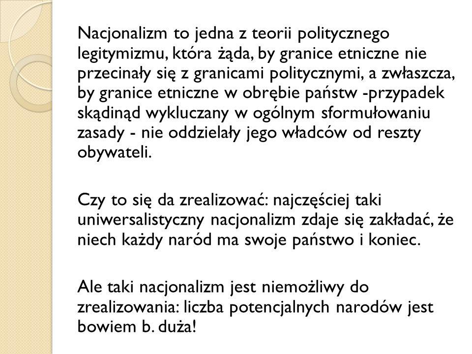 Nacjonalizm to jedna z teorii politycznego legitymizmu, która żąda, by granice etniczne nie przecinały się z granicami politycznymi, a zwłaszcza, by g
