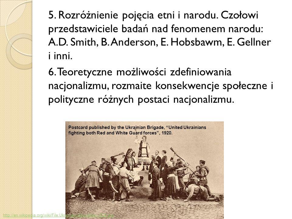 5. Rozróżnienie pojęcia etni i narodu. Czołowi przedstawiciele badań nad fenomenem narodu: A.D. Smith, B. Anderson, E. Hobsbawm, E. Gellner i inni. 6.