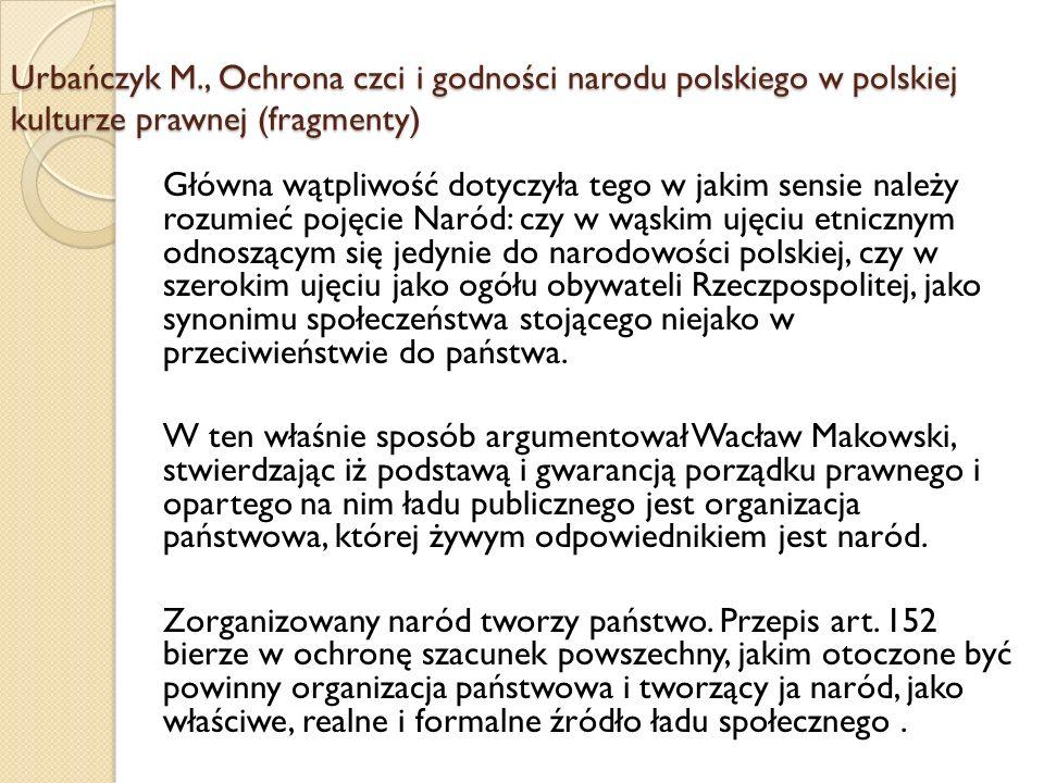 Urbańczyk M., Ochrona czci i godności narodu polskiego w polskiej kulturze prawnej (fragmenty) Główna wątpliwość dotyczyła tego w jakim sensie należy