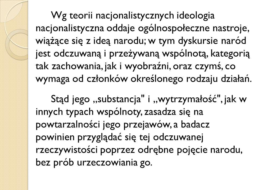 Wg teorii nacjonalistycznych ideologia nacjonalistyczna oddaje ogólnospołeczne nastroje, wiążące się z ideą narodu; w tym dyskursie naród jest odczuwa