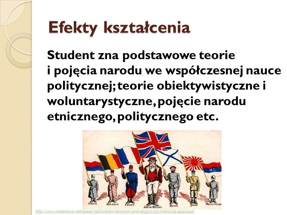 Efekty kształcenia Student zna podstawowe teorie i pojęcia narodu we współczesnej nauce politycznej; teorie obiektywistyczne i woluntarystyczne, pojęc