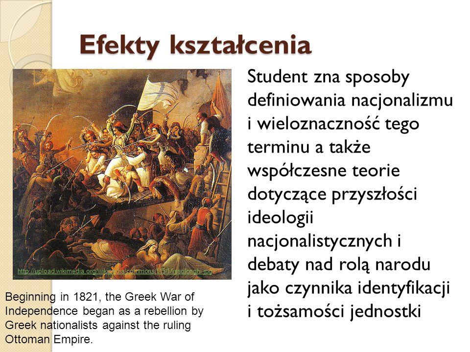 Efekty kształcenia Student zna i potrafi wymienić czynniki identyfikacji narodowej występującej w XIX i XX wieku u różnych narodów europejskich oraz potrafi wskazać na ich rolę w procesach politycznych.