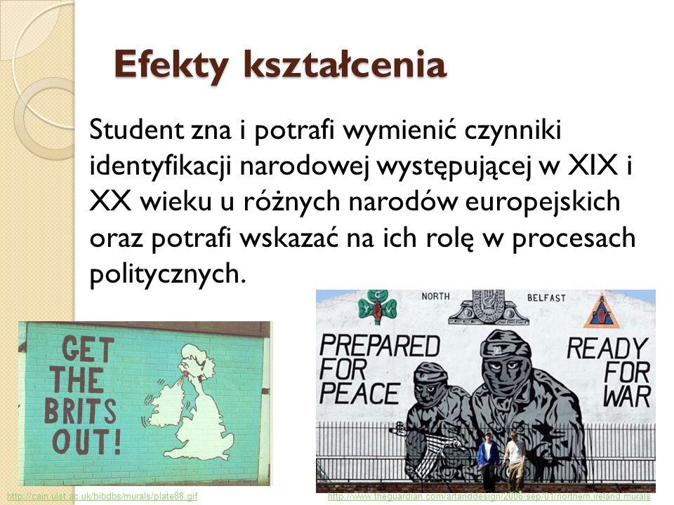 Efekty kształcenia Student zna i potrafi wymienić czynniki identyfikacji narodowej występującej w XIX i XX wieku u różnych narodów europejskich oraz p
