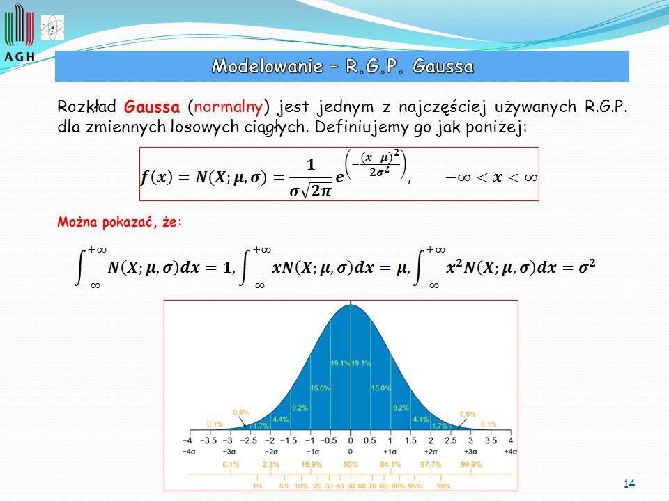 14 Rozkład Gaussa (normalny) jest jednym z najczęściej używanych R.G.P. dla zmiennych losowych ciągłych. Definiujemy go jak poniżej: Można pokazać, że