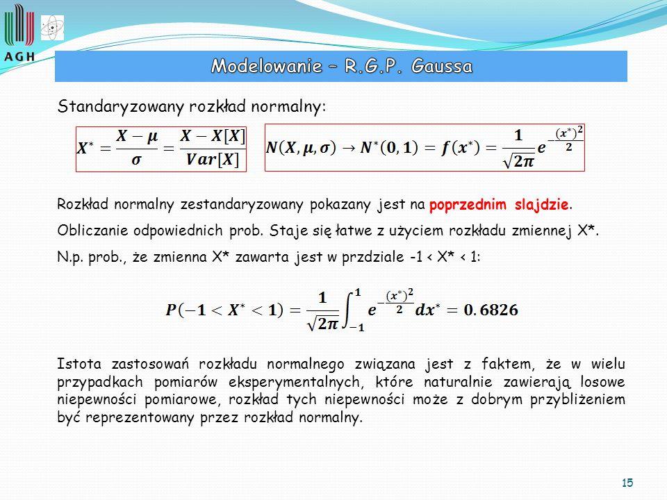 15 Standaryzowany rozkład normalny: Rozkład normalny zestandaryzowany pokazany jest na poprzednim slajdzie. Obliczanie odpowiednich prob. Staje się ła