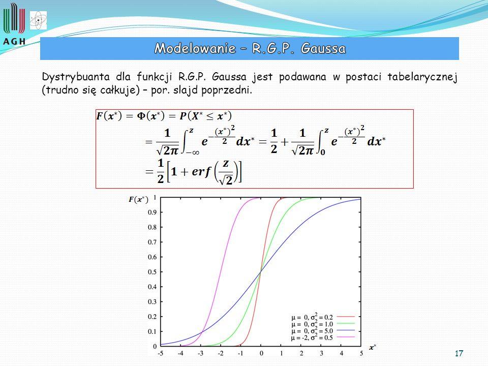 17 Dystrybuanta dla funkcji R.G.P. Gaussa jest podawana w postaci tabelarycznej (trudno się całkuje) – por. slajd poprzedni.