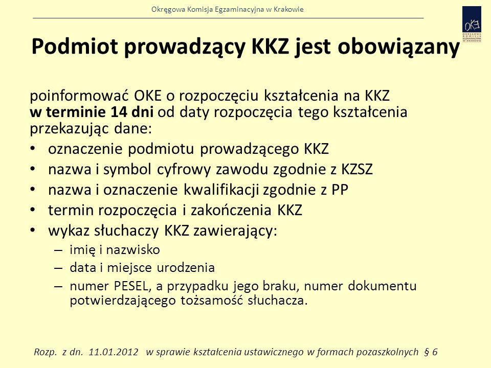 Okręgowa Komisja Egzaminacyjna w Krakowie Podmiot prowadzący KKZ jest obowiązany poinformować OKE o rozpoczęciu kształcenia na KKZ w terminie 14 dni od daty rozpoczęcia tego kształcenia przekazując dane: oznaczenie podmiotu prowadzącego KKZ nazwa i symbol cyfrowy zawodu zgodnie z KZSZ nazwa i oznaczenie kwalifikacji zgodnie z PP termin rozpoczęcia i zakończenia KKZ wykaz słuchaczy KKZ zawierający: – imię i nazwisko – data i miejsce urodzenia – numer PESEL, a przypadku jego braku, numer dokumentu potwierdzającego tożsamość słuchacza.
