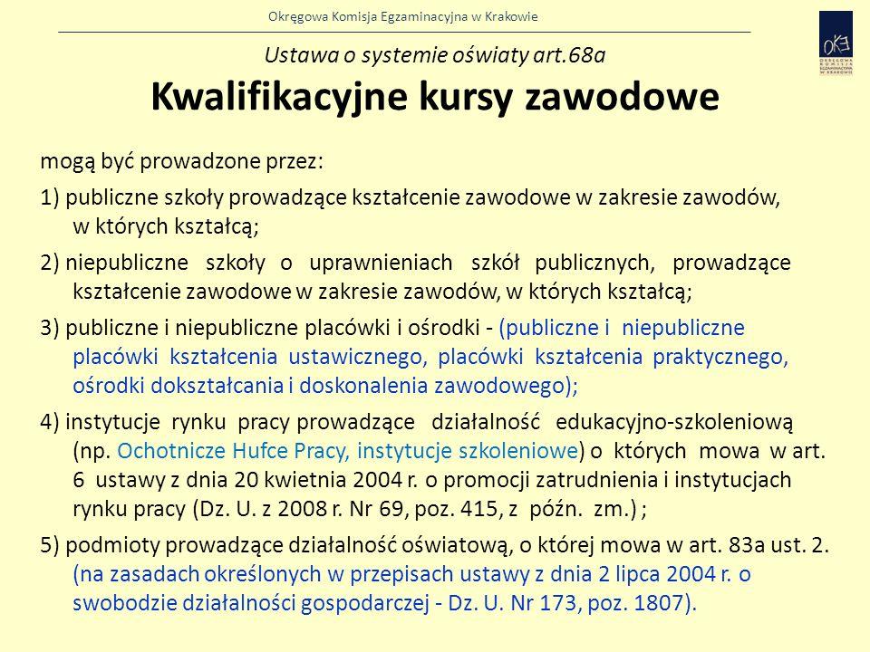 Okręgowa Komisja Egzaminacyjna w Krakowie mogą być prowadzone przez: 1) publiczne szkoły prowadzące kształcenie zawodowe w zakresie zawodów, w których kształcą; 2) niepubliczne szkoły o uprawnieniach szkół publicznych, prowadzące kształcenie zawodowe w zakresie zawodów, w których kształcą; 3) publiczne i niepubliczne placówki i ośrodki - (publiczne i niepubliczne placówki kształcenia ustawicznego, placówki kształcenia praktycznego, ośrodki dokształcania i doskonalenia zawodowego); 4) instytucje rynku pracy prowadzące działalność edukacyjno-szkoleniową (np.