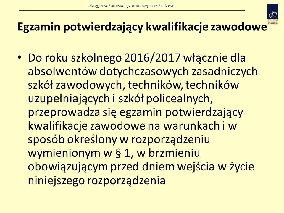 Okręgowa Komisja Egzaminacyjna w Krakowie Egzamin potwierdzający kwalifikacje zawodowe Do roku szkolnego 2016/2017 włącznie dla absolwentów dotychczasowych zasadniczych szkół zawodowych, techników, techników uzupełniających i szkół policealnych, przeprowadza się egzamin potwierdzający kwalifikacje zawodowe na warunkach i w sposób określony w rozporządzeniu wymienionym w § 1, w brzmieniu obowiązującym przed dniem wejścia w życie niniejszego rozporządzenia
