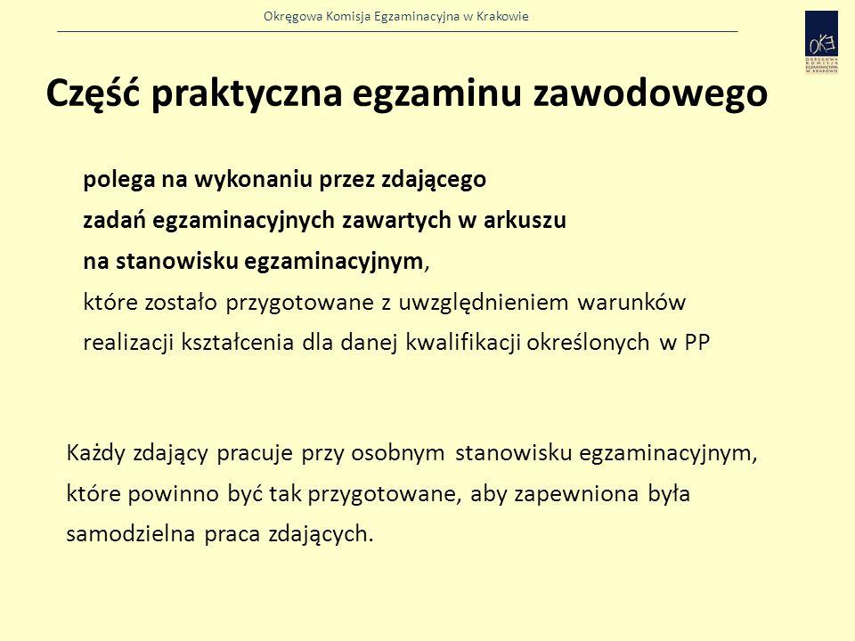 Okręgowa Komisja Egzaminacyjna w Krakowie polega na wykonaniu przez zdającego zadań egzaminacyjnych zawartych w arkuszu na stanowisku egzaminacyjnym, które zostało przygotowane z uwzględnieniem warunków realizacji kształcenia dla danej kwalifikacji określonych w PP Każdy zdający pracuje przy osobnym stanowisku egzaminacyjnym, które powinno być tak przygotowane, aby zapewniona była samodzielna praca zdających.