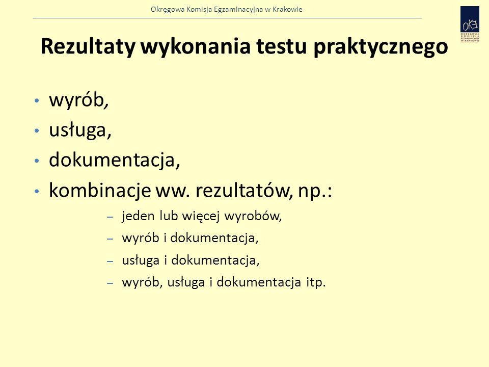 Okręgowa Komisja Egzaminacyjna w Krakowie Rezultaty wykonania testu praktycznego wyrób, usługa, dokumentacja, kombinacje ww.