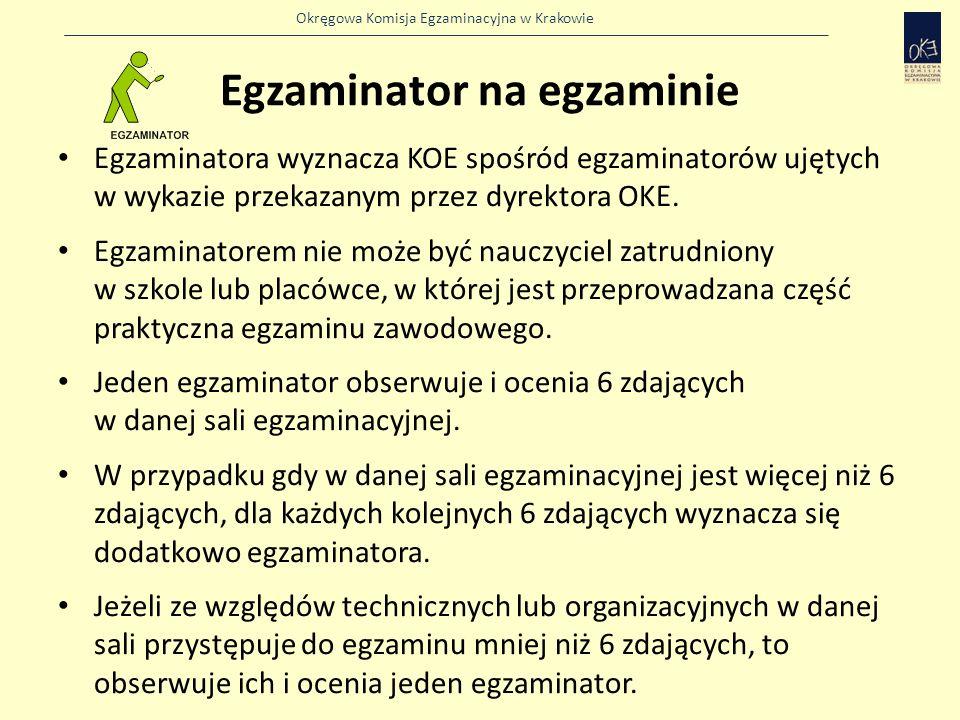 Okręgowa Komisja Egzaminacyjna w Krakowie Egzaminator na egzaminie Egzaminatora wyznacza KOE spośród egzaminatorów ujętych w wykazie przekazanym przez dyrektora OKE.