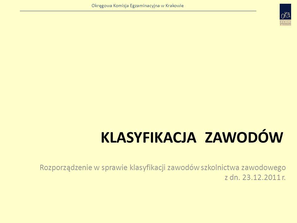 Okręgowa Komisja Egzaminacyjna w Krakowie KLASYFIKACJA ZAWODÓW Rozporządzenie w sprawie klasyfikacji zawodów szkolnictwa zawodowego z dn.