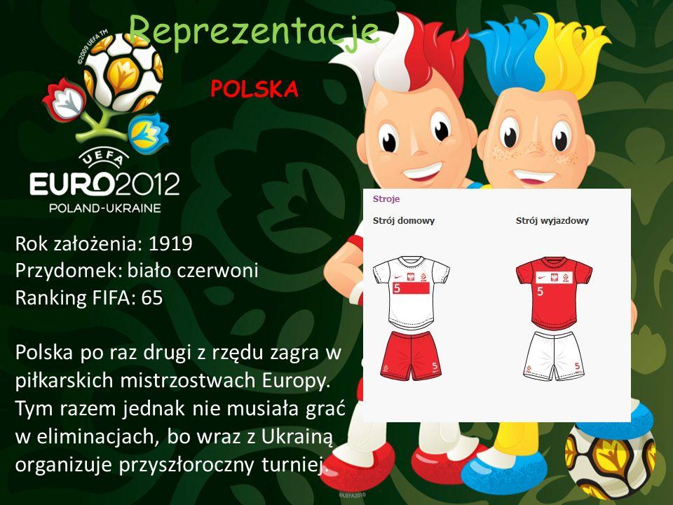 Reprezentacje POLSKA Rok założenia: 1919 Przydomek: biało czerwoni Ranking FIFA: 65 Polska po raz drugi z rzędu zagra w piłkarskich mistrzostwach Euro