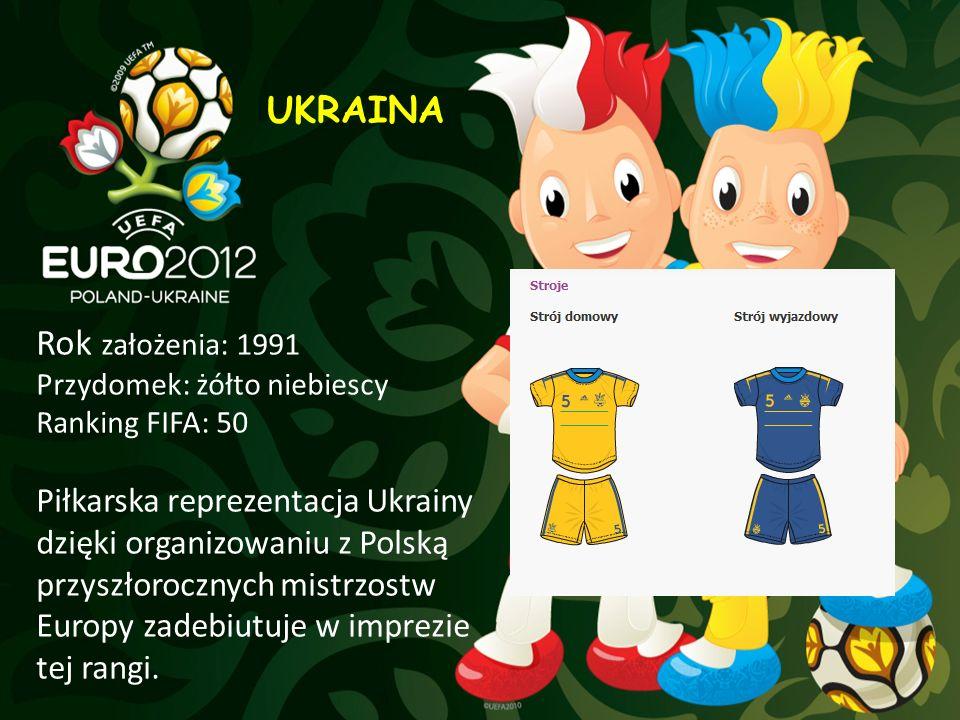 UKRAINA Rok założenia: 1991 Przydomek: żółto niebiescy Ranking FIFA: 50 Piłkarska reprezentacja Ukrainy dzięki organizowaniu z Polską przyszłorocznych