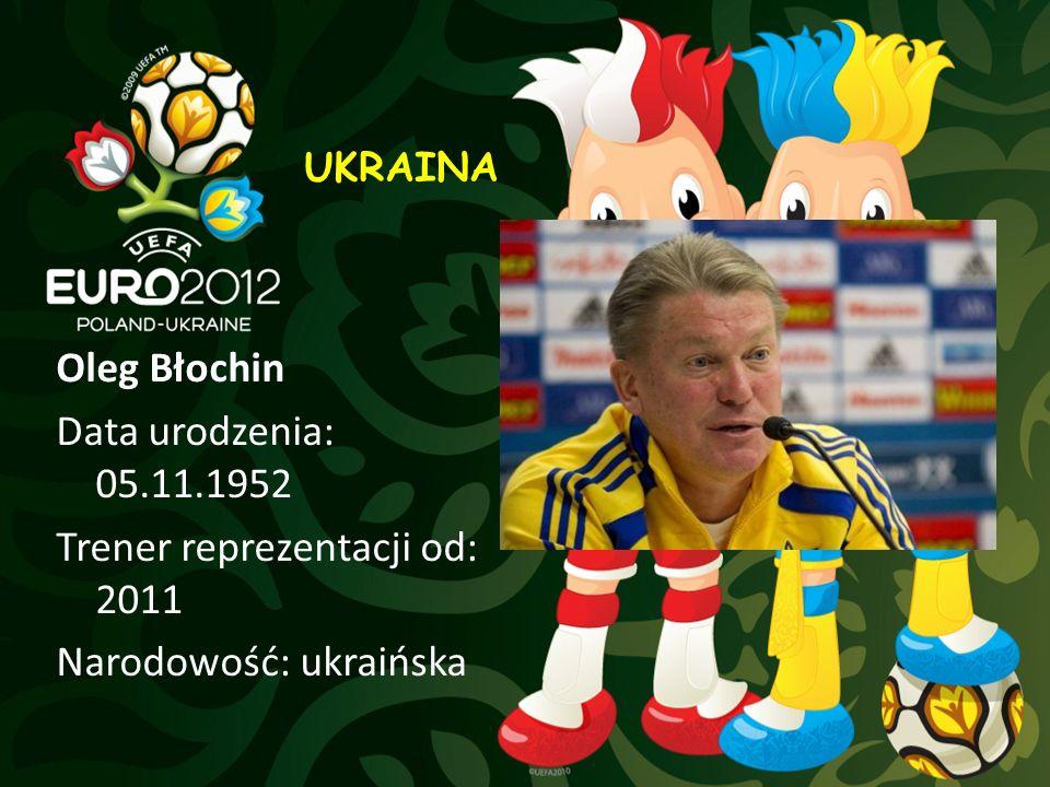 Oleg Błochin Data urodzenia: 05.11.1952 Trener reprezentacji od: 2011 Narodowość: ukraińska UKRAINA