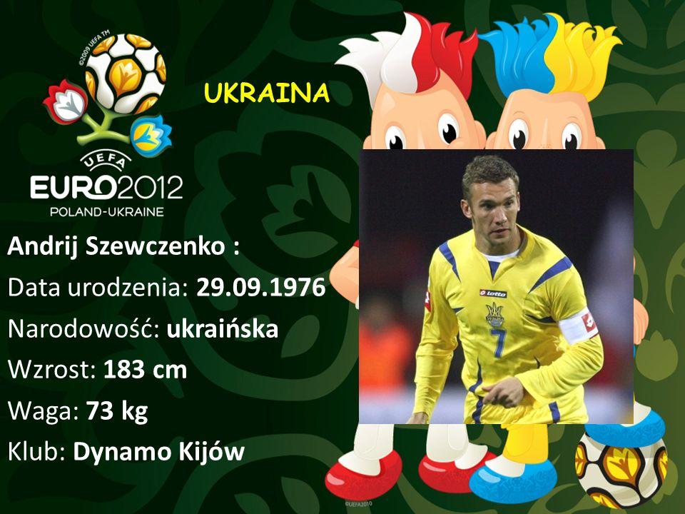 Andrij Szewczenko : Data urodzenia: 29.09.1976 Narodowość: ukraińska Wzrost: 183 cm Waga: 73 kg Klub: Dynamo Kijów UKRAINA