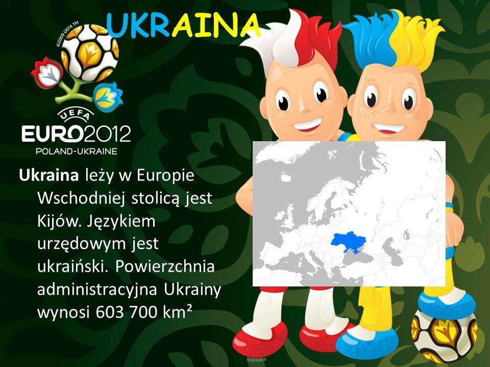 UKRAINA Ukraina leży w Europie Wschodniej stolicą jest Kijów. Językiem urzędowym jest ukraiński. Powierzchnia administracyjna Ukrainy wynosi 603 700 k