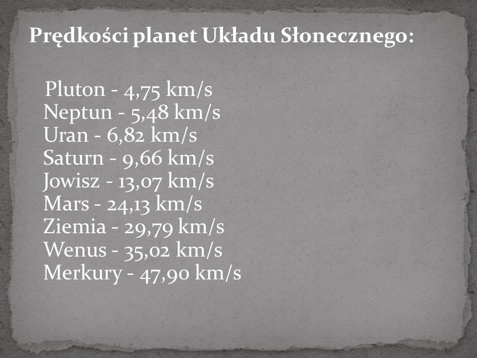 Prędkości planet Układu Słonecznego: Pluton - 4,75 km/s Neptun - 5,48 km/s Uran - 6,82 km/s Saturn - 9,66 km/s Jowisz - 13,07 km/s Mars - 24,13 km/s Z