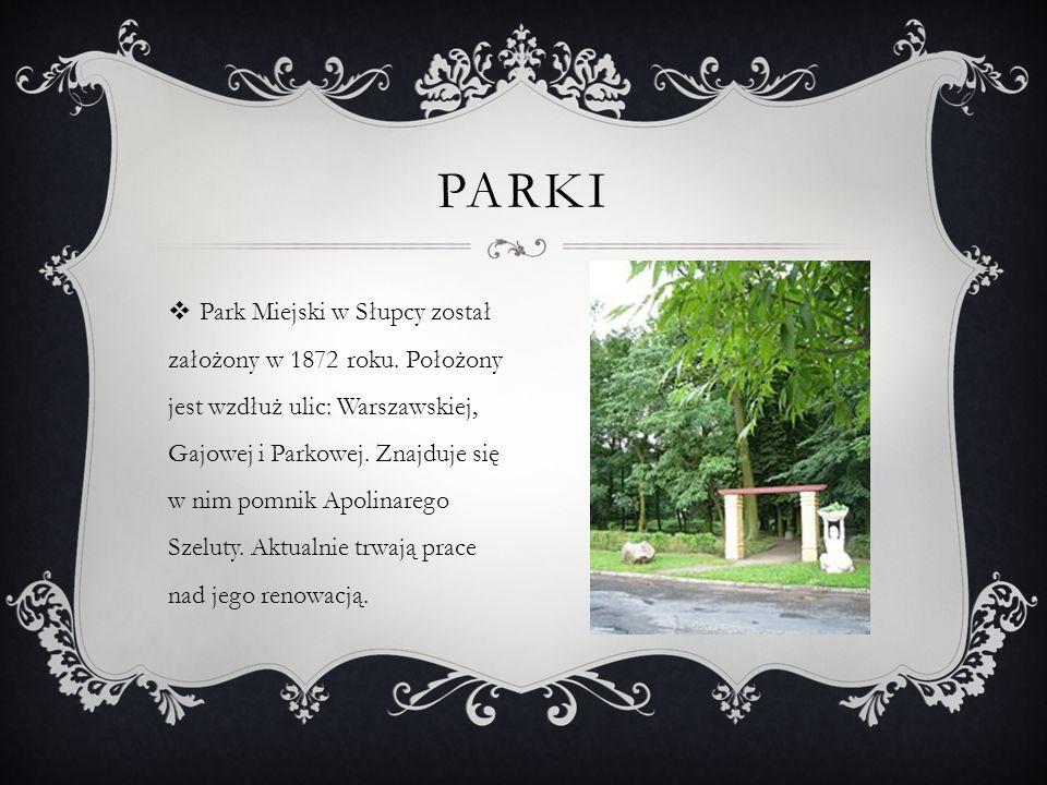 Park Miejski w Słupcy został założony w 1872 roku. Położony jest wzdłuż ulic: Warszawskiej, Gajowej i Parkowej. Znajduje się w nim pomnik Apolinarego