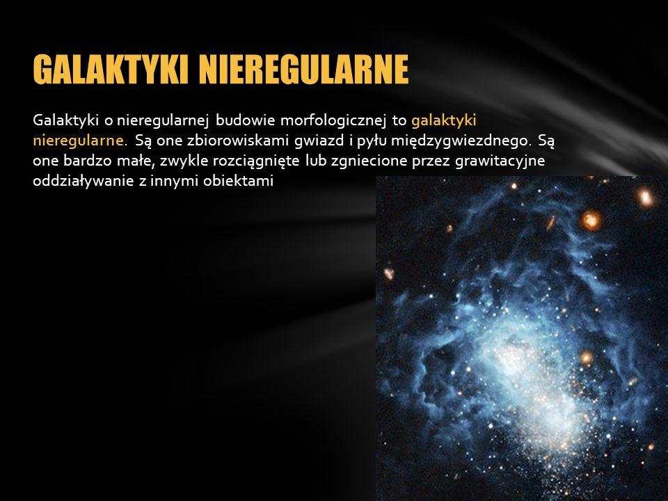 Galaktyki o nieregularnej budowie morfologicznej to galaktyki nieregularne. Są one zbiorowiskami gwiazd i pyłu międzygwiezdnego. Są one bardzo małe, z