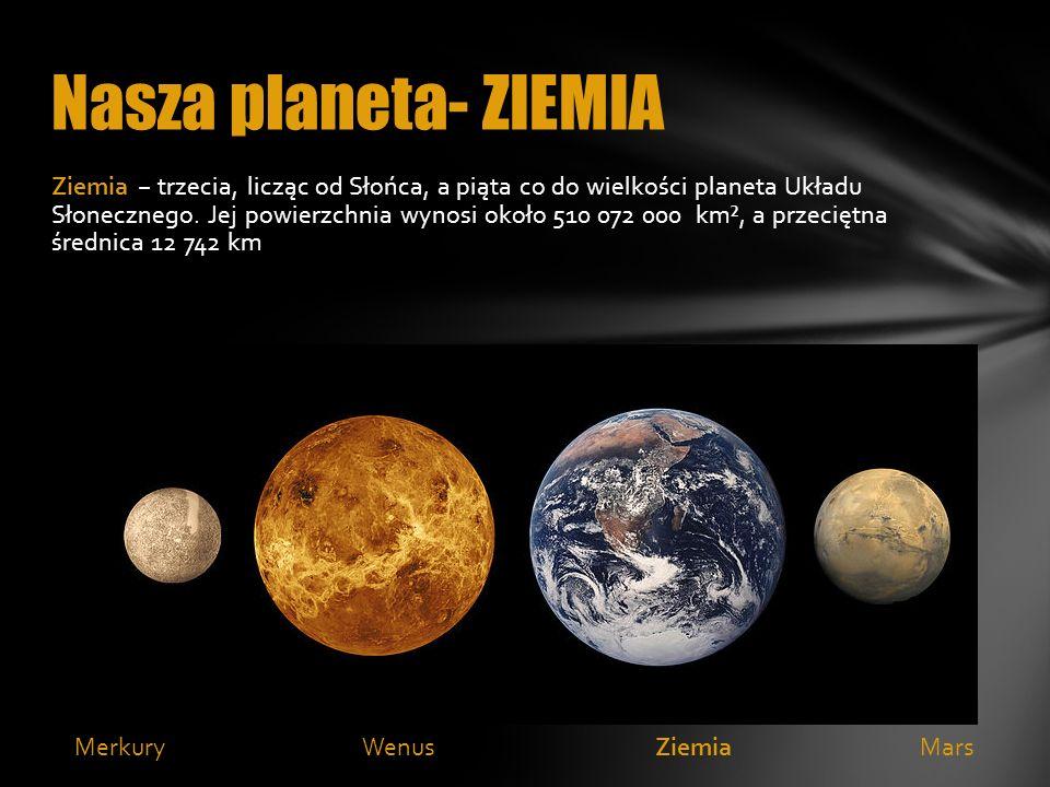Ziemia trzecia, licząc od Słońca, a piąta co do wielkości planeta Układu Słonecznego. Jej powierzchnia wynosi około 510 072 000 km², a przeciętna śred