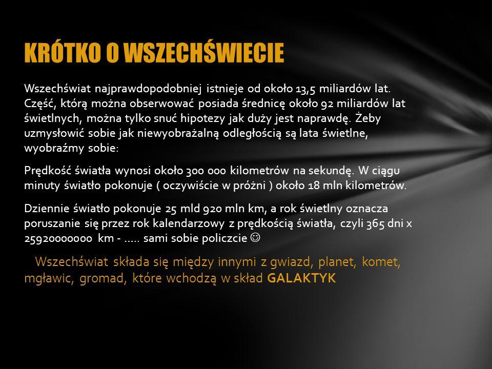 Galaktyki to skupiska układów planetarnych, gwiazd i mgławic.