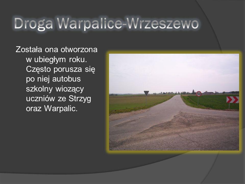 Została ona otworzona w ubiegłym roku. Często porusza się po niej autobus szkolny wiozący uczniów ze Strzyg oraz Warpalic.