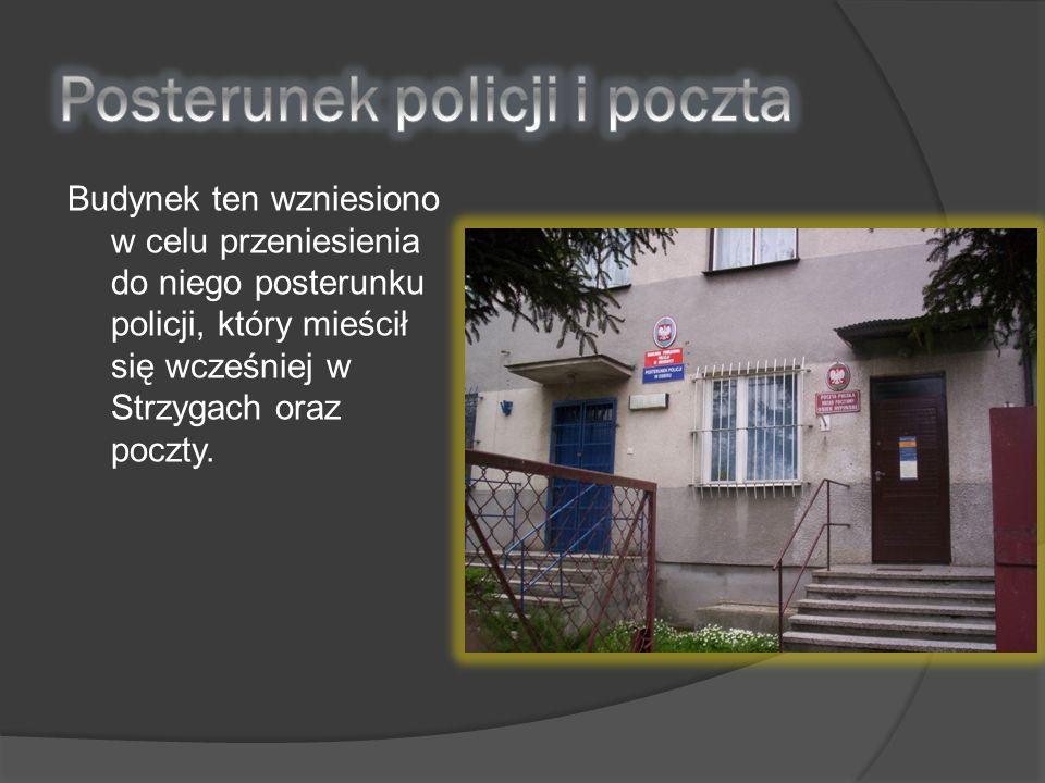 Budynek ten wzniesiono w celu przeniesienia do niego posterunku policji, który mieścił się wcześniej w Strzygach oraz poczty.