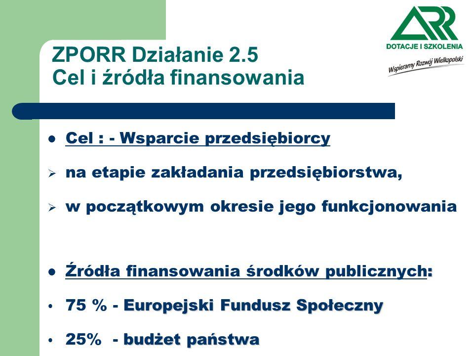 ZPORR Działanie 2.5 Cel i źródła finansowania Cel : - Wsparcie przedsiębiorcy na etapie zakładania przedsiębiorstwa, w początkowym okresie jego funkcj