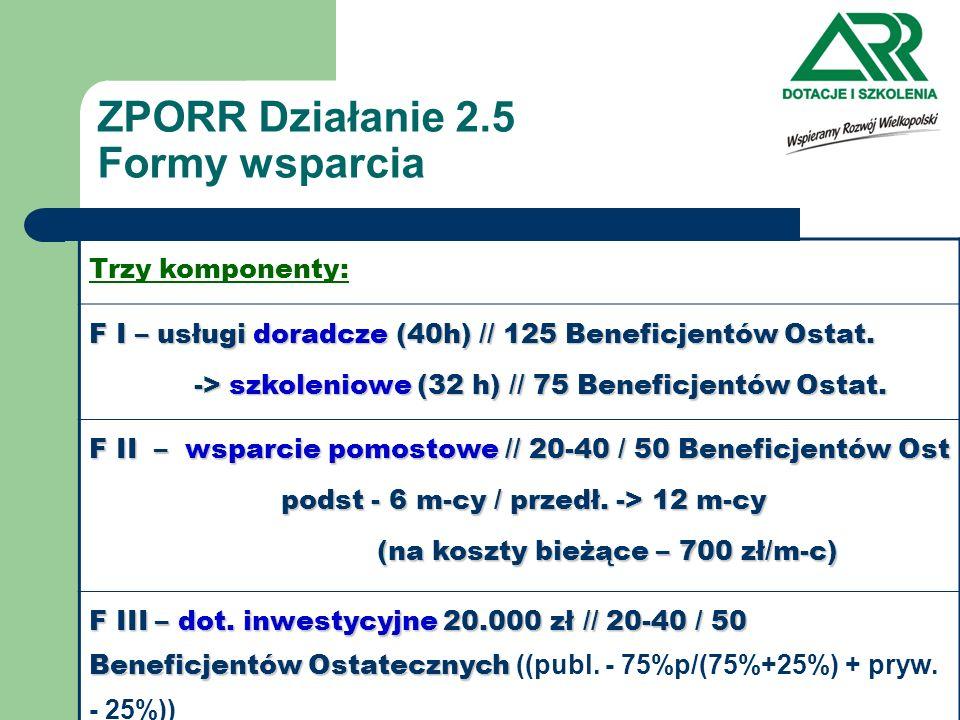 ZPORR Działanie 2.5 Formy wsparcia Trzy komponenty: F I – usługi doradcze (40h) // 125 Beneficjentów Ostat. -> szkoleniowe (32 h) // 75 Beneficjentów