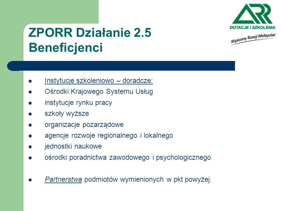 ZPORR Działanie 2.5 Beneficjenci Instytucje szkoleniowo – doradcze: Ośrodki Krajowego Systemu Usług instytucje rynku pracy szkoły wyższe organizacje p