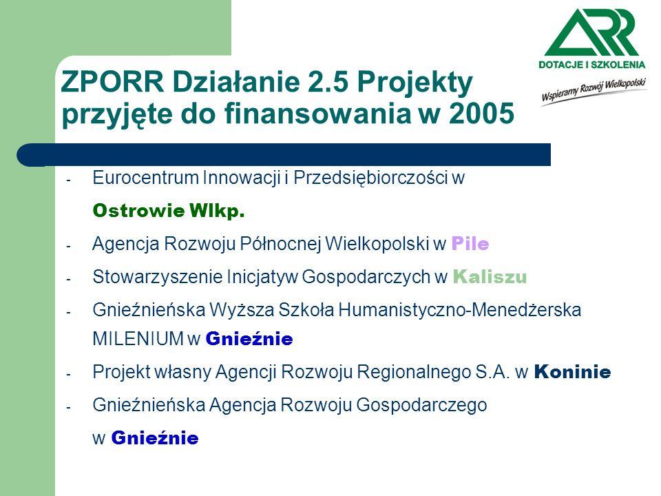 ZPORR Działanie 2.5 Projekty przyjęte do finansowania w 2005 - Eurocentrum Innowacji i Przedsiębiorczości w Ostrowie Wlkp. - Agencja Rozwoju Północnej