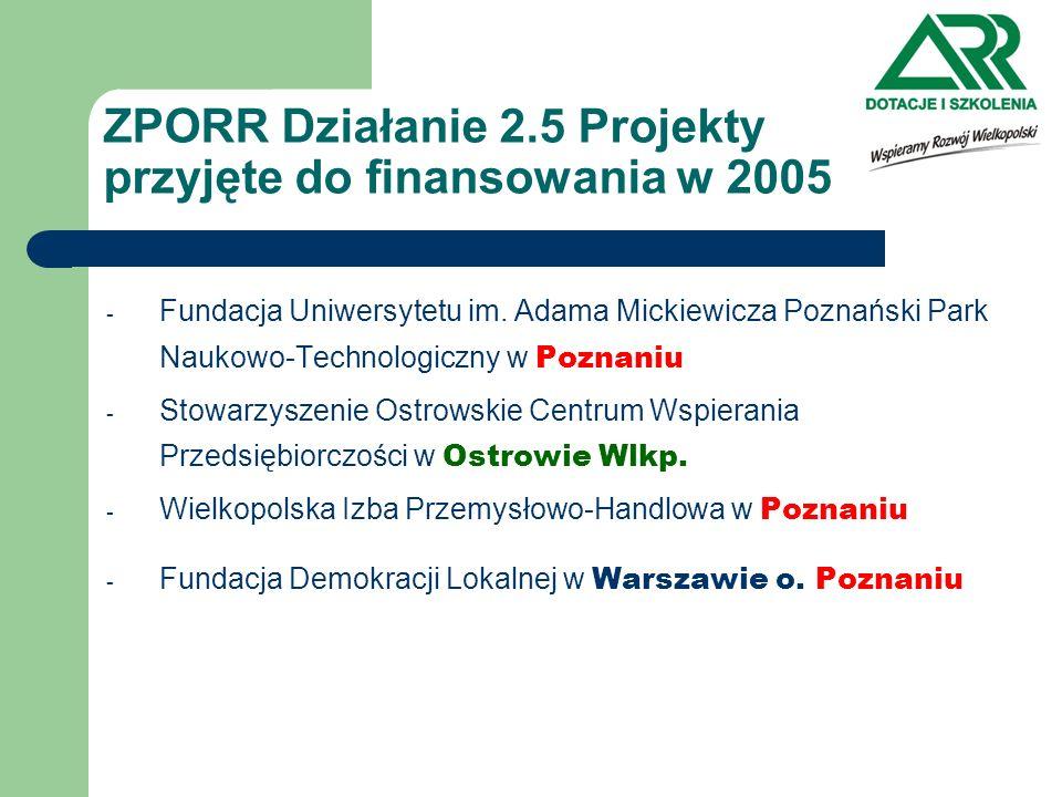 ZPORR Działanie 2.5 Projekty przyjęte do finansowania w 2005 - Fundacja Uniwersytetu im. Adama Mickiewicza Poznański Park Naukowo-Technologiczny w Poz