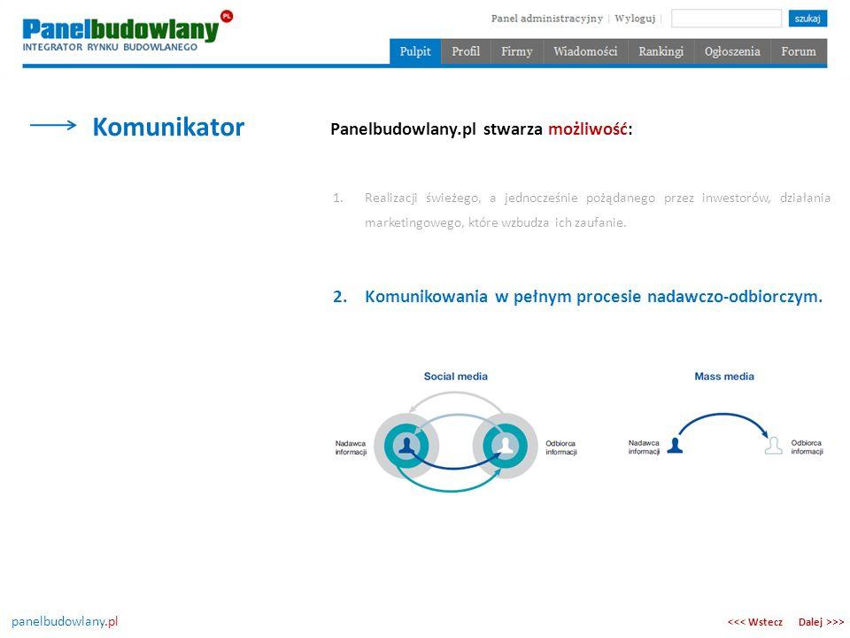 panelbudowlany.pl Komunikator Dalej >>><<< Wstecz Panelbudowlany.pl stwarza możliwość: 2.Komunikowania w pełnym procesie nadawczo-odbiorczym. 1.Realiz